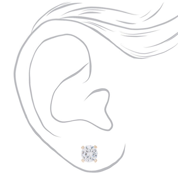 Claire's - rose cubic zirconia 4mm round stud earrings - 2