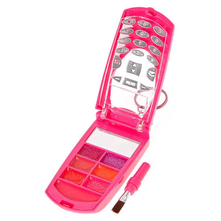 Compact style portable à clapet avec gloss pour les lèvres à la fraise et motif crotte arc-en-ciel et ornements,