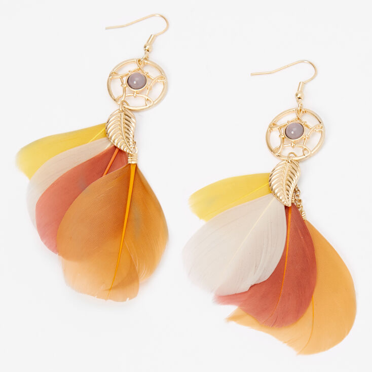 "Gold 4"" Rustic Sunset Feather Drop Earrings,"