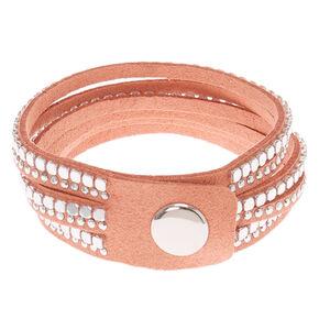 Studded Layered Wrap Bracelet – Pink,