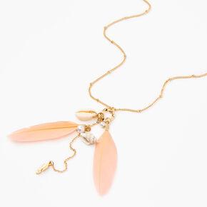 Collier amas de pendentifs longs coquillages et plumes - Couleur dorée,