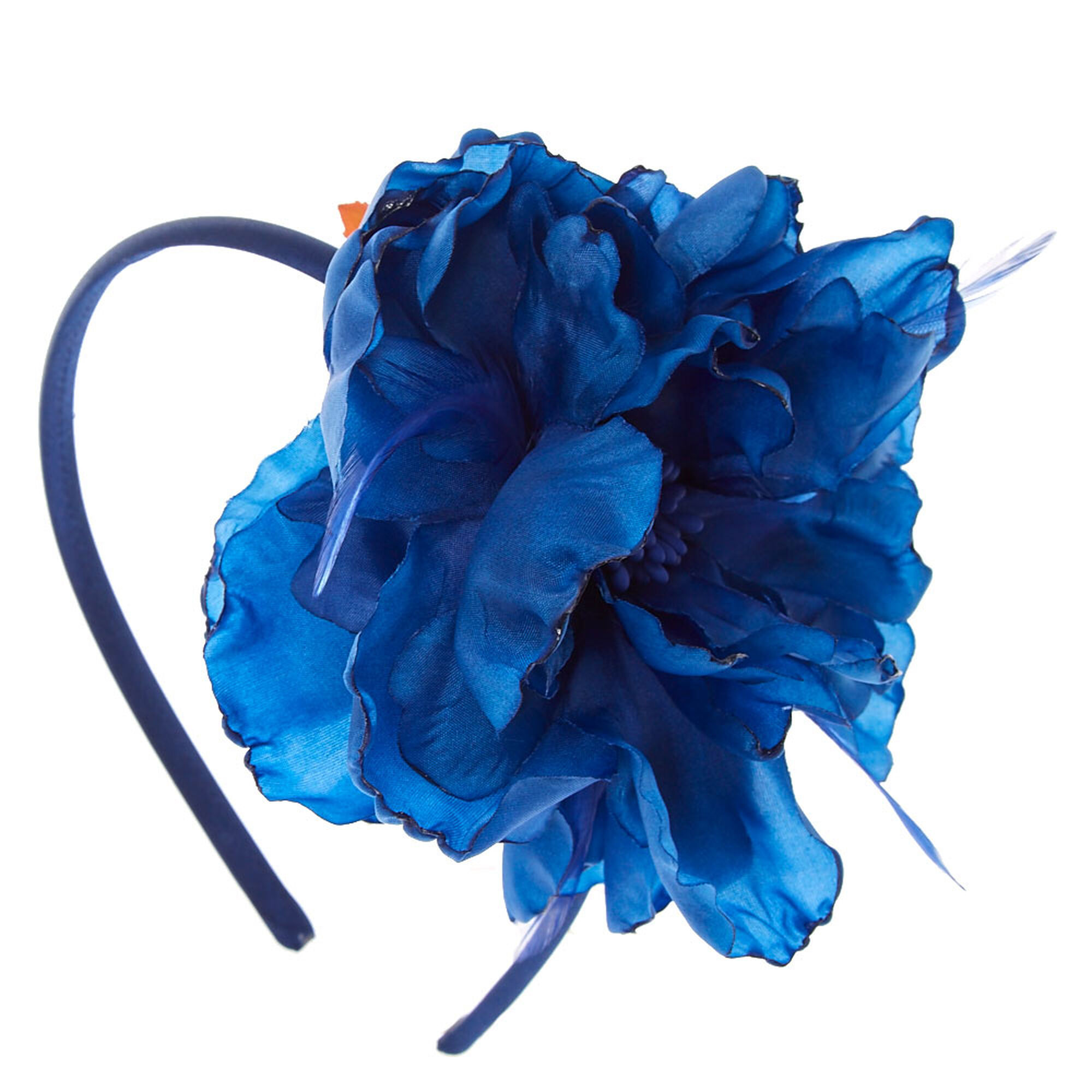 Navy Feathered Flower Headband Claires Us