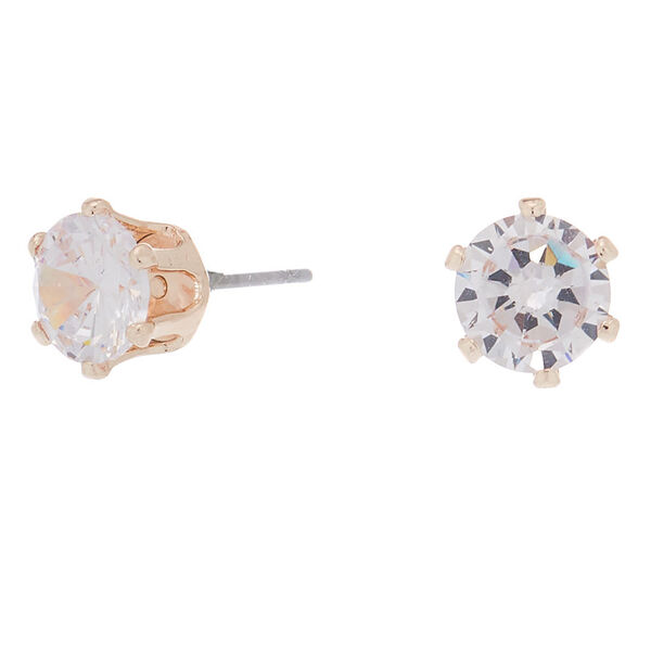 Claire's - rose cubic zirconia 7mm round stud earrings - 1