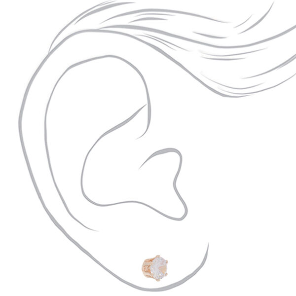 Claire's - rose cubic zirconia 7mm round stud earrings - 2