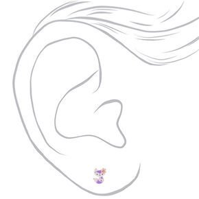 Silver Flower Fox Stud Earrings - Purple,