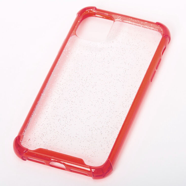Clear Red Glitter Protective Phone Case - Fits iPhone 11,