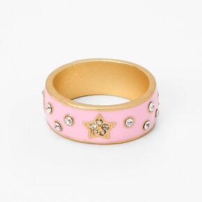 Gold Embellished Star Ring - Pink,