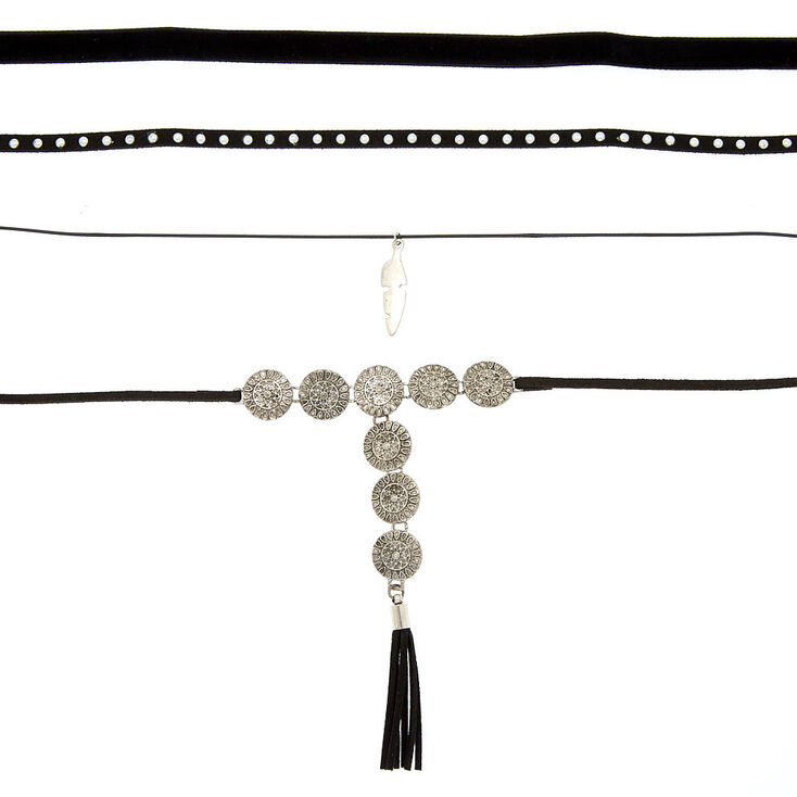 Silver Medallion Choker Necklaces - Black, 4 Pack,