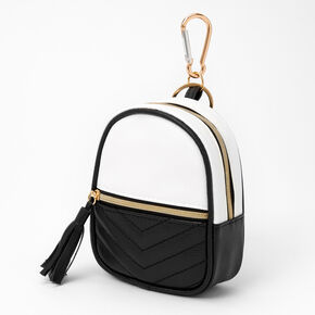 Chevron Quilted Mini Backpack Keychain - Black,