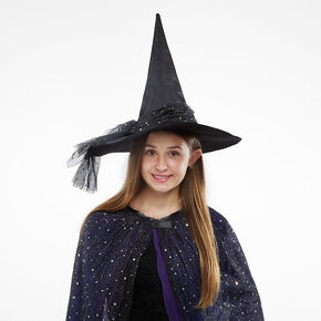Celestial Glitter Witch Hat - Black,