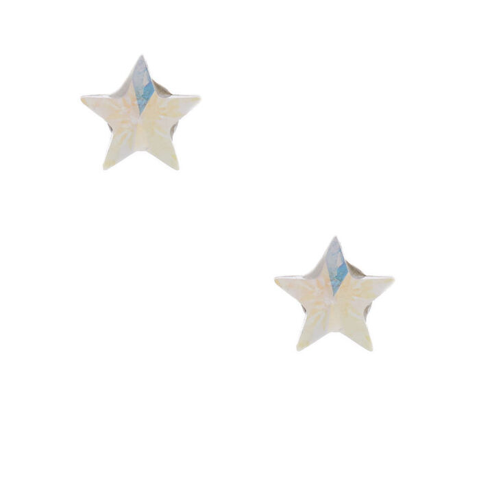 Sterling Silver Crystal Star Earrings,