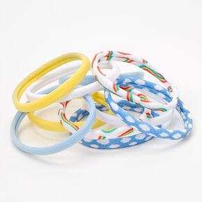 Rainbows & Clouds Rolled Hair Ties - 10 Pack,