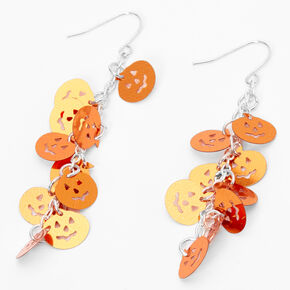 "Silver 2.5"" Multi Pumpkin Drop Earrings - Orange,"