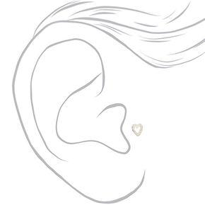 Clou d'oreille pour piercing tragus cœur ajouré 16g couleur argenté,