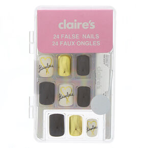 Flawless Square Faux Nail Set - 24 Pack,