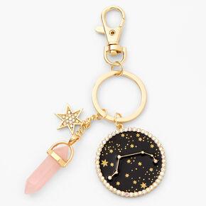 Porte-clés zodiaque avec cristaux de guérison (imitation) couleur dorée - Bélier,