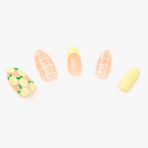 Faux ongles stiletto goutte de citron - Lot de 24,