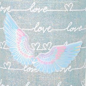 Love Script Angel Wing Denim Magnetic Locker Bin,