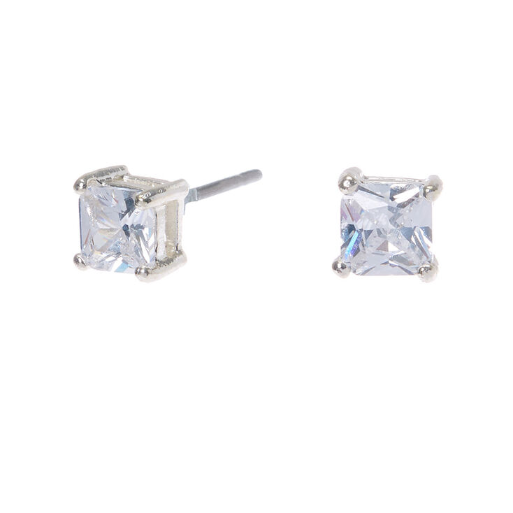 Silver Cubic Zirconia Square Stud Earrings - 4MM,