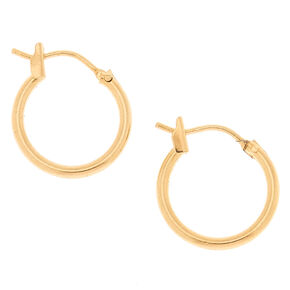 18kt Gold Plated 14MM Hinge Hoop Earrings,