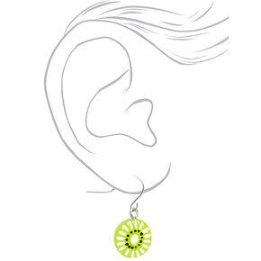 """Silver 1"""" Kiwi Slice Drop Earrings - Green,"""