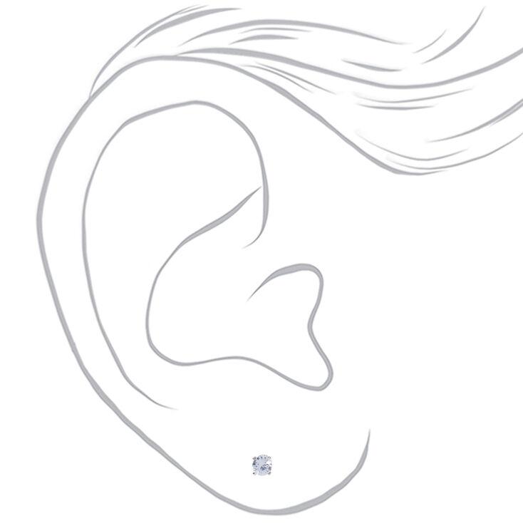 Clous d'oreilles ronds avec strass en zircon cubique d'imitation couleur argentée - 4mm,