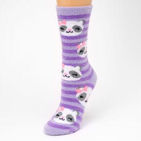 Panda Crew Socks - Purple,