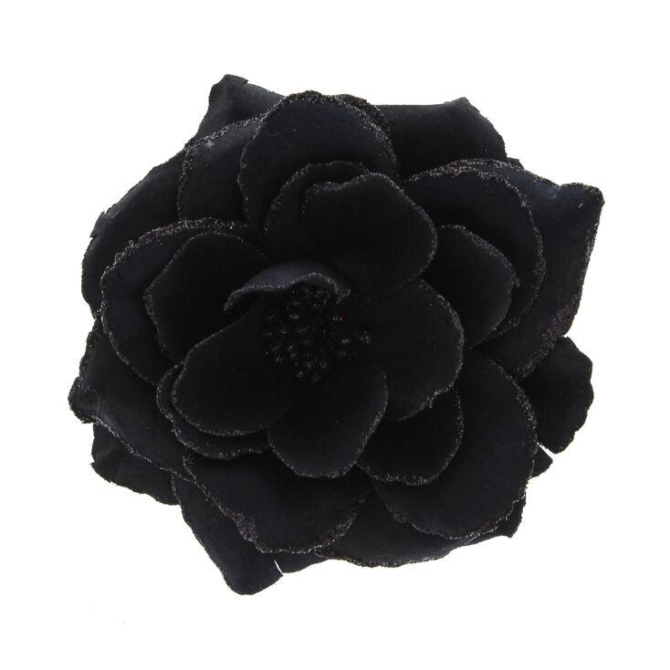 Grande barrette à cheveux motif rose noir brillant,