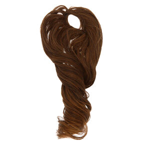 Long Curly Faux Hair Bobble - Brown,