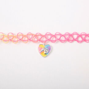 Pastel Rainbow Horse Heart Tattoo Choker Necklace,
