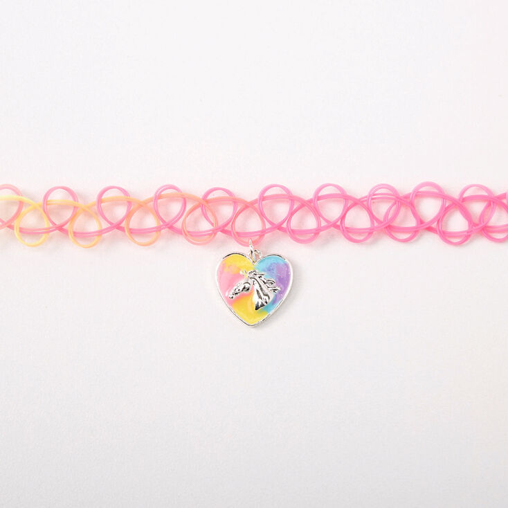 Pastel Rainbow Horse Heart Tattoo Choker Necklace,
