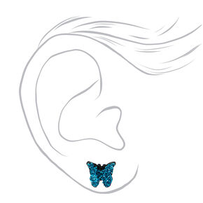Silver Butterfly Floral Stud Earrings - 9 Pack,