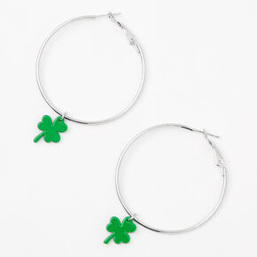 Silver 50 MM Shamrock Hoop Earrings,