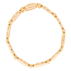 Gold Hammered Circle Stretch Bracelet,