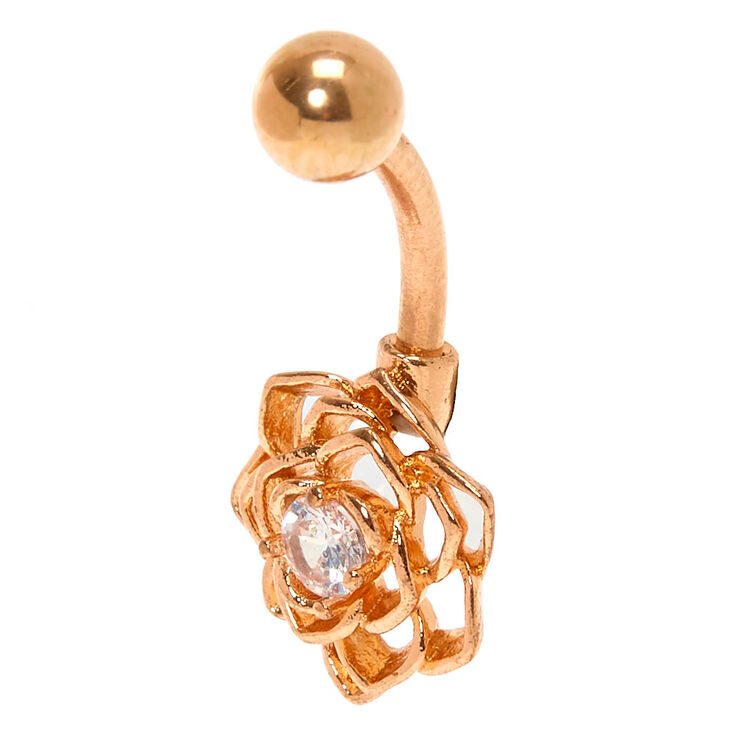 Rose Gold 14G Wire Flower Belly Ring,