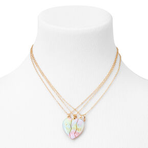 Best Friends Pastel Ombre Heart Pendant Necklaces - 3 Pack,