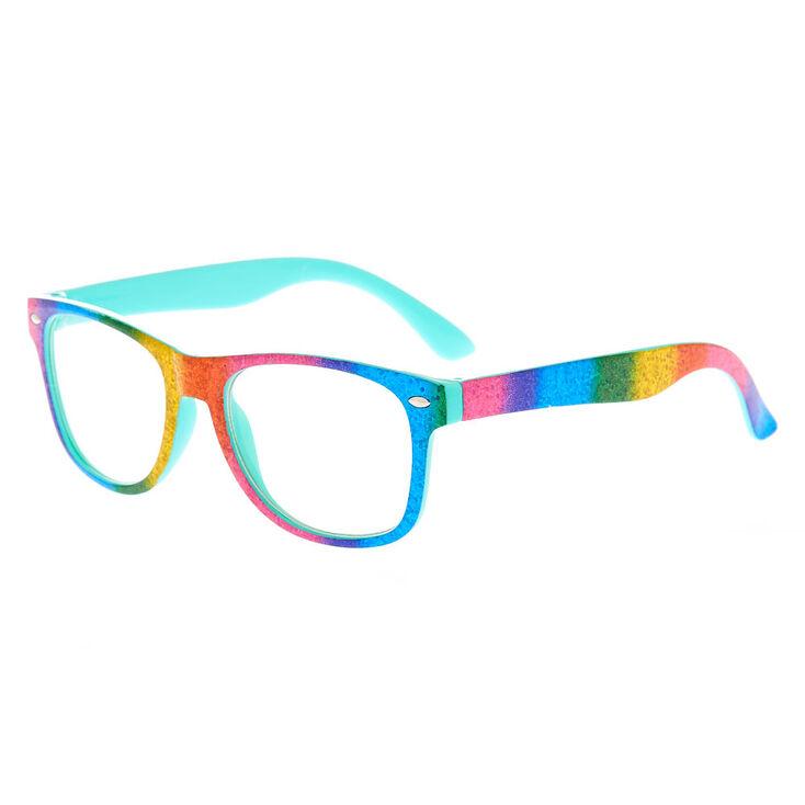 Claire's Club Rainbow Sparkle Retro Clear Lens Frames,
