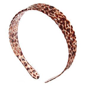 Brown & Pink Leopard Waffle Headband,