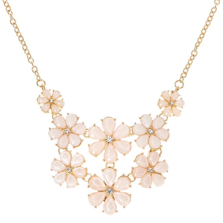 Pink Flower Statement Necklace Claires Us