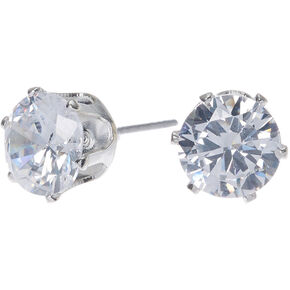 Silver Cubic Zirconia Round Stud Earrings - 8MM,