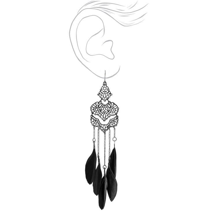 Pendantes à plumes en filigrane et strass 13cm noires,