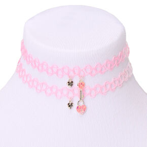 Best Friends Lock & Key Tattoo Choker Necklaces - Pink, 2 Pack,