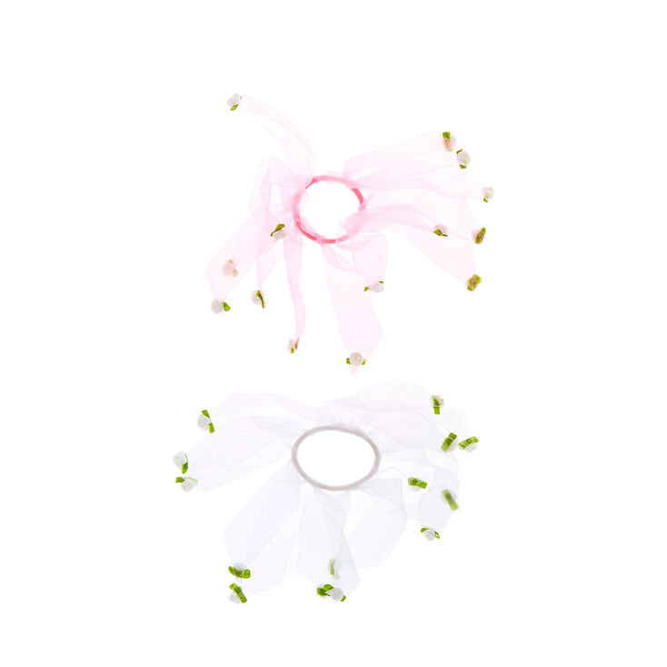 Claire's Club Ribbon Flower Hair Ties - 2 Pack,