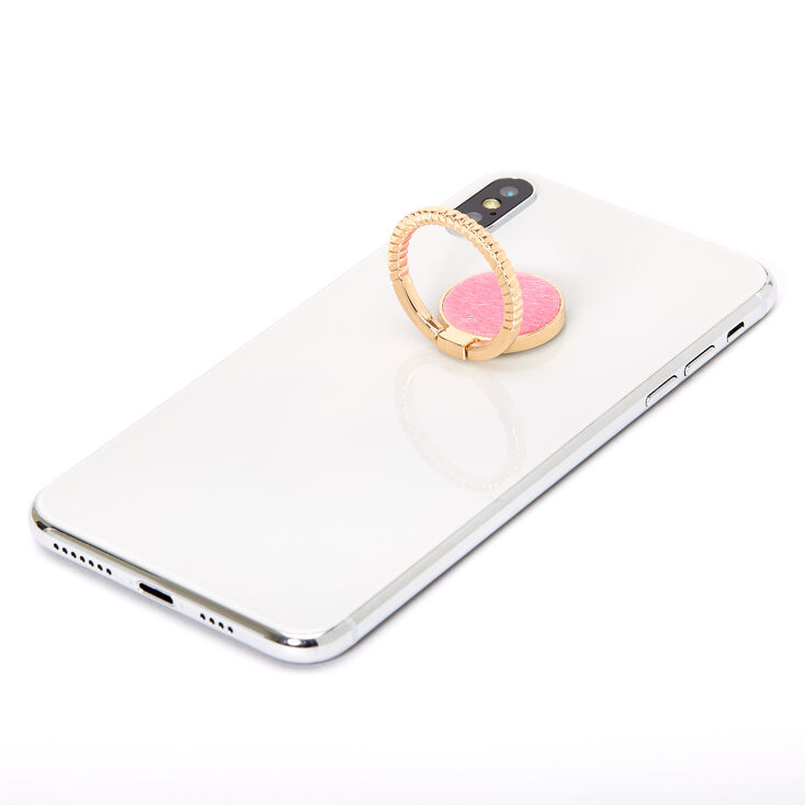 Gold Twist Pink Fur Ring Stand,