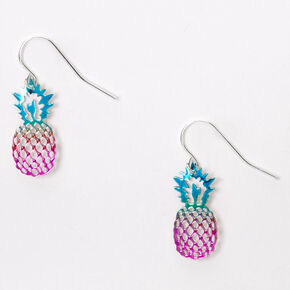 "Silver 1"" Anodized Rainbow Pineapple Drop Earrings,"