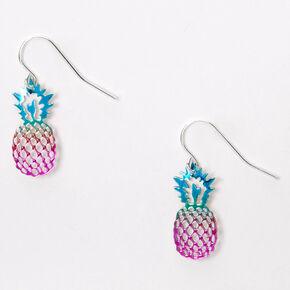 Pendantes ananas arc-en-ciel anodisées 2,5cm couleur argentée,