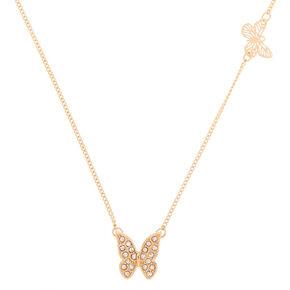 Collier à pendentif papillon couleur doré,