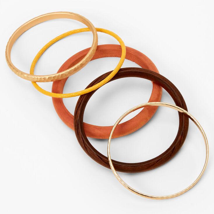 Gold Burnished Wood Bangle Bracelets - Brown, 5 Pack,