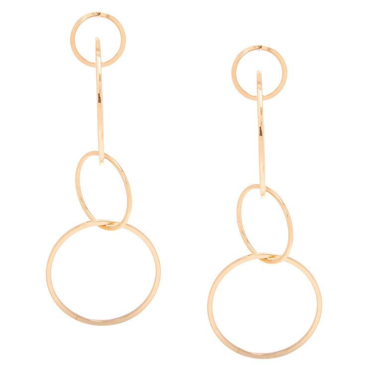 Gold-Tone Ring Drop Earrings,