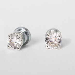 Silver Cubic Zirconia Round Magnetic Stud Earrings - 3MM,